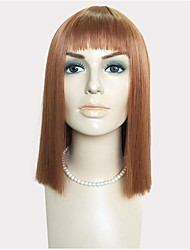 cheap -kinky Straight Bob Haircut / Layered Haircut / With Bangs Synthetic Hair Brown Wig Women's Long Capless