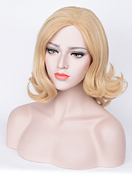 cheap -Synthetic Wig Curly Wavy Asymmetrical Haircut Bob Haircut Natural Hairline Density Capless Women's Blonde Halloween Wig Celebrity Wig
