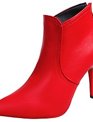 cheap -Women's Shoes PU Fall Comfort Fashion Boots Boots Stiletto Heel Pointed Toe Mid-Calf Boots Zipper for Casual Black Red