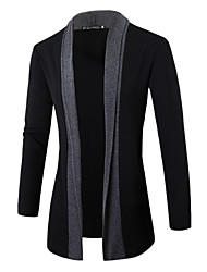cheap -Men's Daily Casual Active Regular Cardigan,Solid Color Block Shirt Collar Long Sleeves Linen Spring Fall Medium Micro-elastic