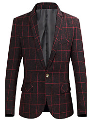 Men's Work Plus Size Plus Size Chinoiserie Spring Fall Blazer,Plaid Notch Lapel Long Sleeve Regular Polyester Others