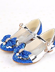 cheap -Girls' Shoes PU Summer Comfort Heels for Casual Gold Silver Blue Pink