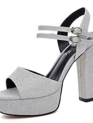 cheap -Women's Shoes Glitter Spring Summer Gladiator Sandals Chunky Heel Peep Toe Sparkling Glitter for Dress Party & Evening Gold Silver