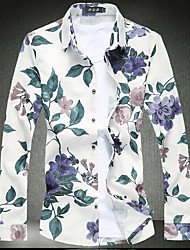 cheap -Men's Daily Going out Chinoiserie Winter Fall Shirt,Floral Geometric Shirt Collar Long Sleeves Cotton Rayon Medium