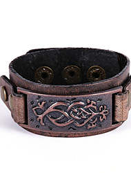 Men's Women's Bracelet Leather Bracelet Vintage Rock Leather Alloy Rectangle Jewelry For Gift Casual