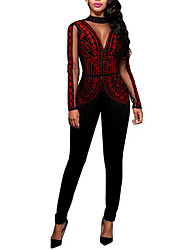 Women's Party Daily Club Cute Casual Sexy Color Block Crew Neck Jumpsuits,Slim Winter Fall