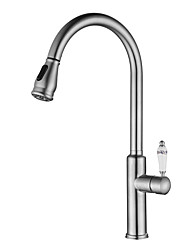 cheap -Modern/Contemporary Vessel Pullout Spray Widespread Ceramic Valve Nickel Brushed, Kitchen faucet