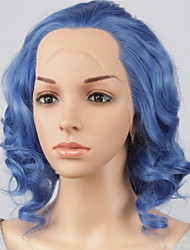 cheap -Women Synthetic Wig Lace Front Short Medium Length Curly Wavy Natural Wave Loose Wave Blue Lolita Wig Party Wig Celebrity Wig Halloween
