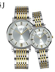 cheap -ASJ Couple's Wrist watch Fashion Watch Japanese Quartz Casual Watch Stainless Steel Band Charm Silver