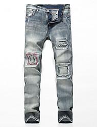 economico -Per uomo Chino Jeans Pantaloni - Tinta unita, Strappato