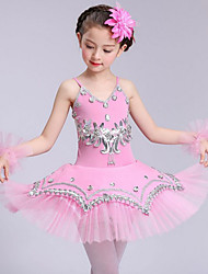 devons-nous ballet robes enfants performance spandex sans manches robes hautes