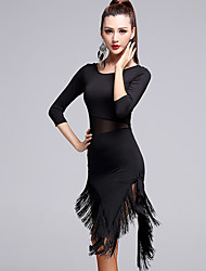 cheap -Latin Dance Women's Performance Milk Fiber Tassel 3/4 Length Sleeves Natural Dress