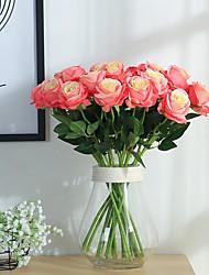 abordables -2pcs artificielle rose fleur de soie fleur bouquet de mariée pour la décoration de mariage à domicile (rose)