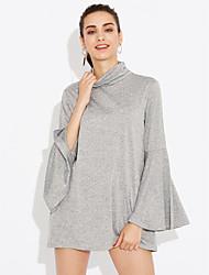 T-shirt Da donna Casual / Per uscire Vintage / Moda città Autunno,Tinta unita A collo alto Poliestere / Elastene Grigio Manica lunga