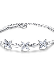 cheap -Women's Cubic Zirconia Sterling Silver Flower Chain Bracelet - Silver Bracelet For Wedding Party