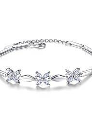 cheap -Women's Cubic Zirconia Chain Bracelet - Sterling Silver Flower Bracelet Silver For Wedding / Party