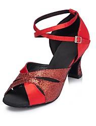 cheap -Women's Latin Shoes Glitter / Silk Sandal Performance Paillette Customizable Dance Shoes Black / Purple / Red