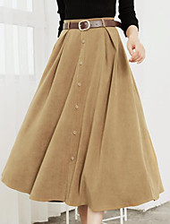 cheap -Women's Daily Knee-length Skirts,Casual Swing Faux Fur Solid Fall