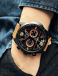 preiswerte -Herrn Modeuhr Armbanduhr Armbanduhren für den Alltag Chinesisch Quartz / Leder Band Schwarz Braun