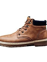 Homme Chaussures Cuir Printemps Automne boîtes de Combat Bottes Lacet Pour Décontracté Noir Brun claire Brun Foncé