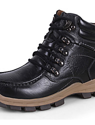 cheap -Men's Shoes Nappa Leather Winter Fall Combat Boots Bootie Boots Booties/Ankle Boots Lace-up for Casual Outdoor Black Coffee