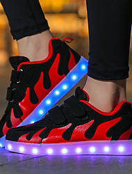 Girls' Shoes Net Fabric Winter Fall Comfort Light Up Shoes Sneakers Magic Tape LED For Casual Outdoor Pink/White Black/White Black/Red