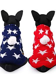 preiswerte -Hund Pullover Hundekleidung Sterne Rot Blau Chinlon Kostüm Für Haustiere Lässig/Alltäglich