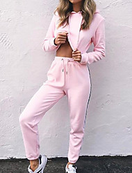 cheap -Women's Hoodie - Solid Colored High Rise Pant Hooded