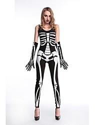 abordables -Squelette / Crâne Mariée fantomatique Tenue Femme Halloween Le jour des morts Fête / Célébration Déguisement d'Halloween Noir Damier