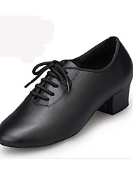 cheap -Men's Latin Shoes Leather Performance Ribbon Tie Low Heel Customizable Dance Shoes Black