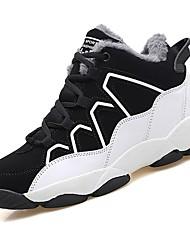 Femme Chaussures Polyuréthane Automne Hiver Confort Chaussures d'Athlétisme Marche Bout rond Lacet Pour Athlétique Décontracté Noir/blanc