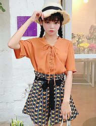 Damen Solide Einfach Lässig/Alltäglich Shirt Hose Anzüge,V-Ausschnitt Frühling Kurzarm Mikro-elastisch