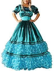 Un Pezzo/Vestiti Gotico Lolita Cosplay Vestiti Lolita Blu Vintage Ad aletta Manica corta Raso terra Abito Per Altro