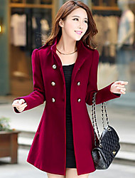 cheap -Women's Daily Vintage Casual Winter Fall Pea Coat,Solid Notch Lapel Long Sleeve Long Polyester