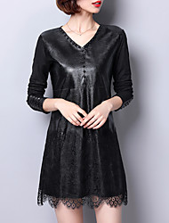 Women's Daily Sexy Loose Dress,Solid V Neck Above Knee Long Sleeves PU Polyester Spring Fall Mid Rise Inelastic Medium