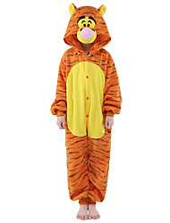 abordables -Pyjamas Kigurumi Tiger Combinaison de Pyjamas Costume Flanelle Toison Orange Cosplay Pour Enfant Pyjamas Animale Dessin animé Halloween