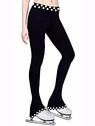 cheap -Figure Skating Footed Tights Women's Girls' Ice Skating Pants / Trousers Tracksuit Black Stretchy Performance Practise Skating Wear Dots