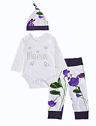 baratos -bebê Para Meninas Conjunto Aniversário Interior Ao ar livre Casual Flor Inverno Primavera/Outono Algodão Manga Longa Floral Branco