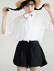 cheap -Women's Going out Cute Casual Blouse,Solid Shirt Collar Short Sleeves Cotton Acrylic