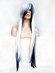 abordables -Mujer Pelucas sintéticas Sin Tapa Largo Liso Blanco Con flequillo Peluca de fiesta Peluca de Halloween Pelucas para Disfraz