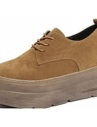 Women's Shoes PU Spring Fall Comfort Sneakers For Casual Khaki Light Brown Black