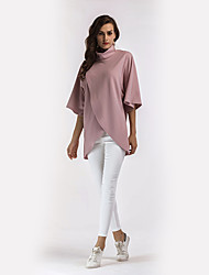 Women's Holiday Casual/Daily Street chic Shirt,Solid Stand Long Sleeves Polyester