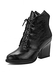 cheap -Women's Shoes Leatherette Spring / Winter Fashion Boots / Bootie Boots Chunky Heel Round Toe Booties / Ankle Boots Lace-up Black / Gray /