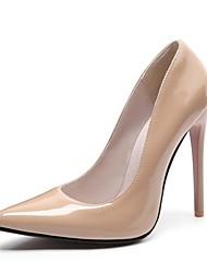 Недорогие -Для женщин Обувь Дерматин Осень Удобная обувь Обувь на каблуках Заостренный носок Назначение Свадьба Черный Красный Винный Миндальный