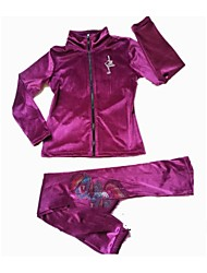 cheap -Figure Skating Fleece Jacket Women's Girls' Ice Skating Tracksuit Clothing Suits Peach Violet Stretchy Performance Practise Skating Wear