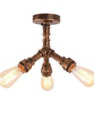 3 tête vintage loft industriel style eau pipe flush mount light restaurant cafe bar light