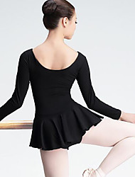 Ballet Women's Performance Spandex Long Sleeve Natural Dress