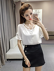 cheap -Women's Daily Cute Summer Blouse,Solid V Neck Short Sleeves Rayon Thin