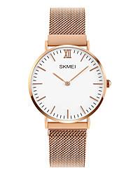 abordables -SKMEI Mujer Cuarzo Reloj de Pulsera Reloj de Moda Japonés Gran venta Acero Inoxidable Banda Encanto Plata Oro Rosa