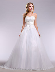 A-Line Strapless Chapel Train Lace Satin Tulle Wedding Dress with Beading Sashes/ Ribbons Side-Draped by Nameilisha